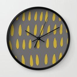 chartreuse rain drops on grey abstract pattern Wall Clock