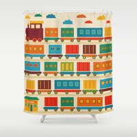 train Shower Curtains featuring Train by Kakel