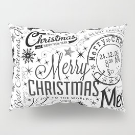 Black and White Christmas Typography Design Pillow Sham