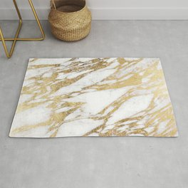 Chic Elegant White and Gold Marble Pattern Rug