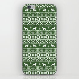 Cocker Spaniel fair isle christmas pattern dog breed holiday gifts green and white iPhone Skin