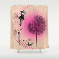 bebop Shower Curtains featuring Let's fly away on a dandelion by AmDuf