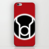 green lantern iPhone & iPod Skins featuring Green Lantern: Red Lantern by The Barefoot Hatter