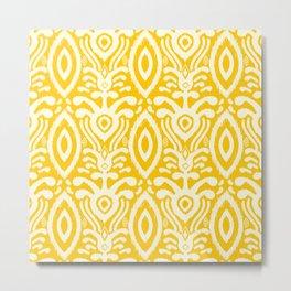 Yellow Ikat Pattern Metal Print