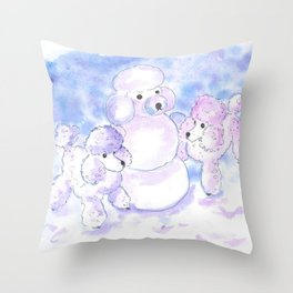Poodles in Snow Throw Pillow
