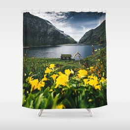 Cabin in Saksun - Faroe Islands Shower Curtain
