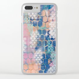 honeycomb and lace Clear iPhone Case