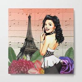 Retro Pinup Girl Flowers & Music in Paris Metal Print