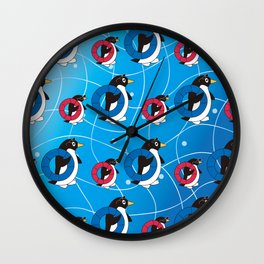 Parent-child penguin walking on the Wave_A Wall Clock