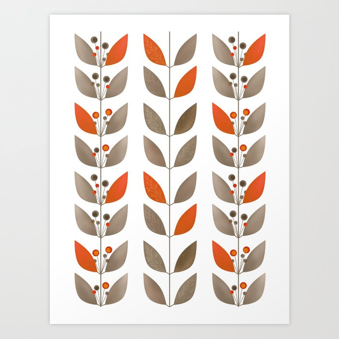 Retro pattern . Autumn leaves . Art Print