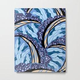 BALINESIA: BLUE MONDAY, Art Deco Tropical Metal Print