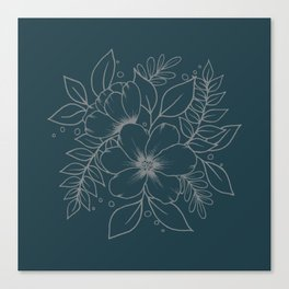 Floral Outline on Navy Blue Canvas Print