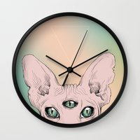 sphynx Wall Clocks featuring SPHYNX. by paintparamore