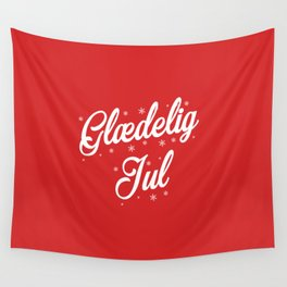 Glaedelig Jul Red Background Wall Tapestry