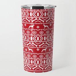Italian Greyhound fair isle christmas snowflakes dog breed silhouette pattern gifts Travel Mug