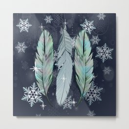 Feathers in the Winter Sky with Snowflakes Metal Print