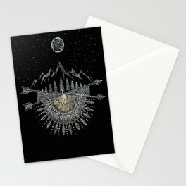 Moon and Stars Night Sky Mountain Range Arrow Mandala Stationery Cards