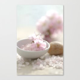 Still life for Bathroom with almond blossoms Canvas Print