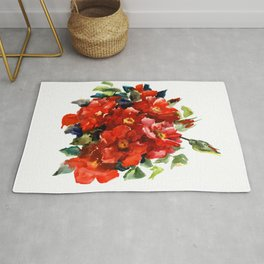 Bright Red French Garden Roses Rug