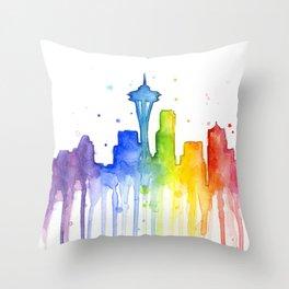 Seattle Skyline Rainbow Watercolor Throw Pillow
