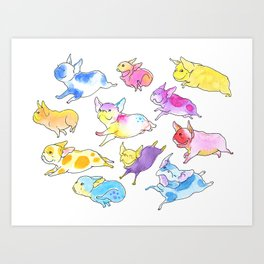 Fearless Flying Frenchies - French Bulldogs Art Print
