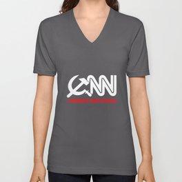 CNN Communist News Network Funny Tabloid Fake Corporate Media Trump Fraud  trump Unisex V-Neck