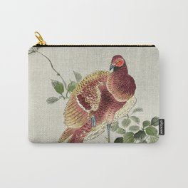 Pheasant sitting on a tree - Vintage Japanese Woodblock Print Art Carry-All Pouch
