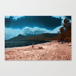 Hand Stand on misty shores at Hamilton Island Canvas Print