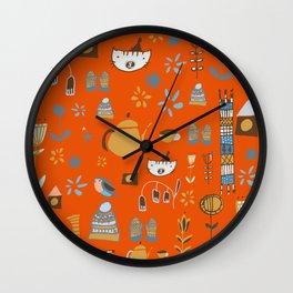 hygge cat and bird orange Wall Clock