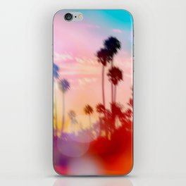 palm tree with sunset sky and light bokeh abstract background iPhone Skin