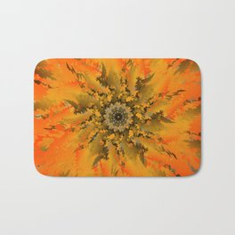 Blooming cactus. Bright orange flower blossoming poppy lilting background. Bath Mat
