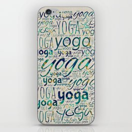 Yoga Pattern Teal Marble with gold  on canvas iPhone Skin