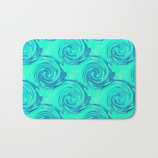Abstract pattern in turquoise and blue tones. Bath Mat