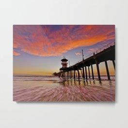 HB SUNSETS   12/24/15    Sunset At The Huntington Beach Pier Metal Print