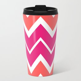 Big Chevron:  Fuchsia + Coral Travel Mug