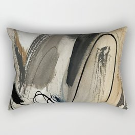 Drift [5]: a neutral abstract mixed media piece in black, white, gray, brown Rectangular Pillow
