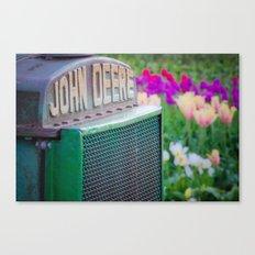 John Deere in the Tulips Canvas Print