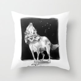Libra Wolf Throw Pillow
