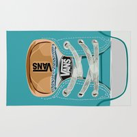 vans Area & Throw Rugs featuring Cute blue teal Vans all star baby shoes iPhone 4 4s 5 5s 5c, ipod, ipad, pillow case and tshirt by Three Second