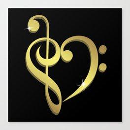 Treble clef, bass clef music heart love Canvas Print