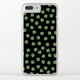 Dark Green Clover Clear iPhone Case
