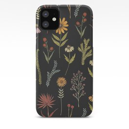 flat lay floral pattern on a dark background iPhone Case