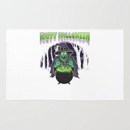 Scary Witch Happy Halloween Cauldron Rug