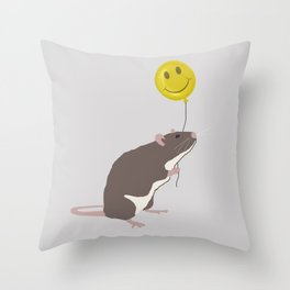 Rat with a Happy Face Balloon Throw Pillow