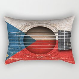 Old Vintage Acoustic Guitar with Czech Flag Rectangular Pillow