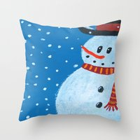 snowman Throw Pillows featuring Snowman by gretzky
