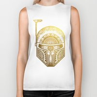 gold foil Biker Tanks featuring Mandala BobaFett - Gold Foil by Spectronium - Art by Pat McWain