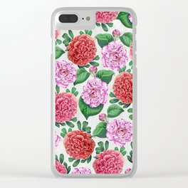 Camellia and Peonia pattern Clear iPhone Case