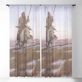 """""""A Cree Indian"""" by Charles Russell Sheer Curtain"""