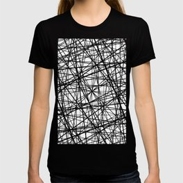 Geometric Collision - Abstract black and white T-shirt
